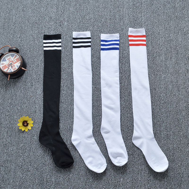 4 Colors Spring Autumn Girls Student Stripes Thigh Highs Over The Knee Stockings Long Football Socks For Anime School Uniforms