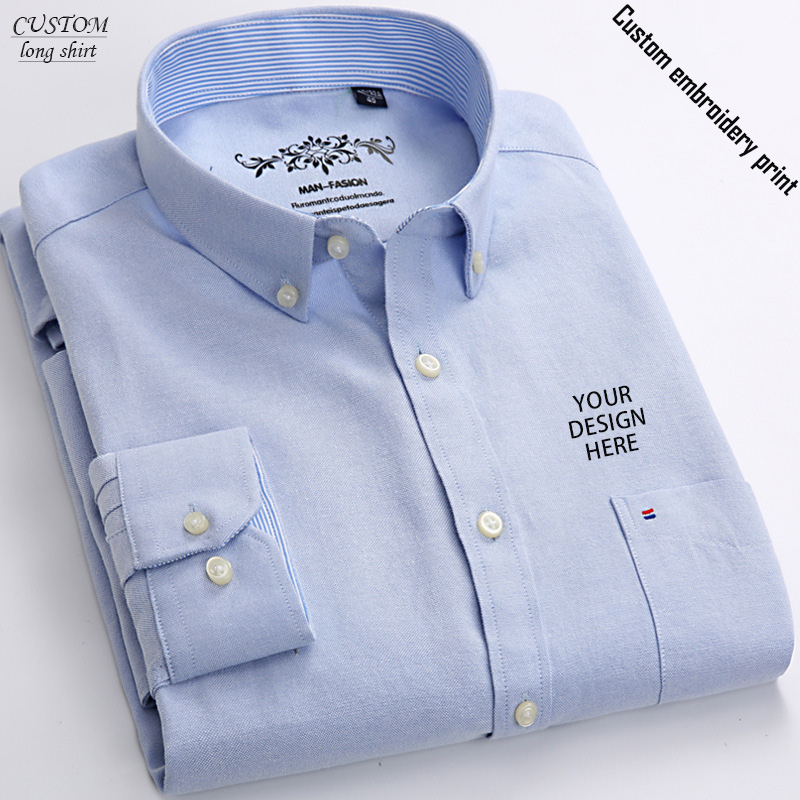 Custon Embroidery Mens Long Sleeve Solid Dress Shirt With Left Chets Pocket High-quality Male Casual Reglar-fit Tops Button