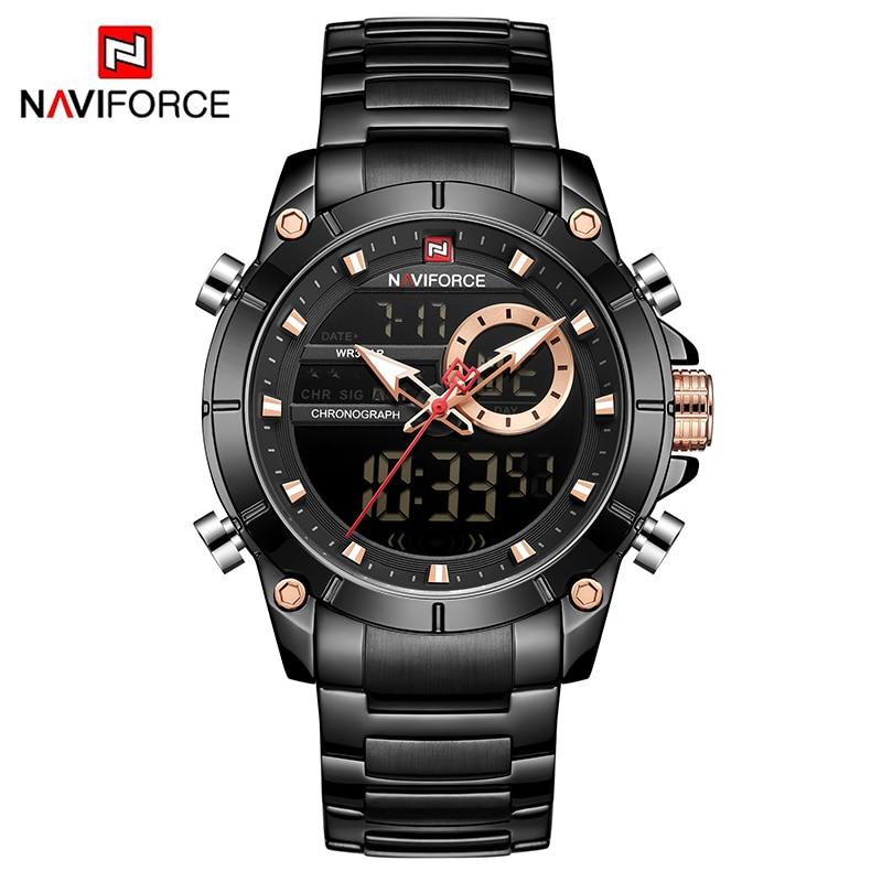 NAVIFORCE Hot Men Watches Fashion Casual Bussiness Quartz Watch Men Military Chronograph Stainless Steel Wristwatch Reloj Hombre 5