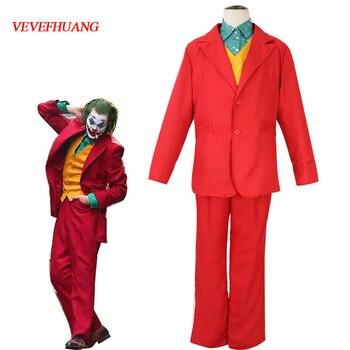 2019Joker Cosplay Costume Clown Halloween Party Joker Movie Uniform Suit Wig Set