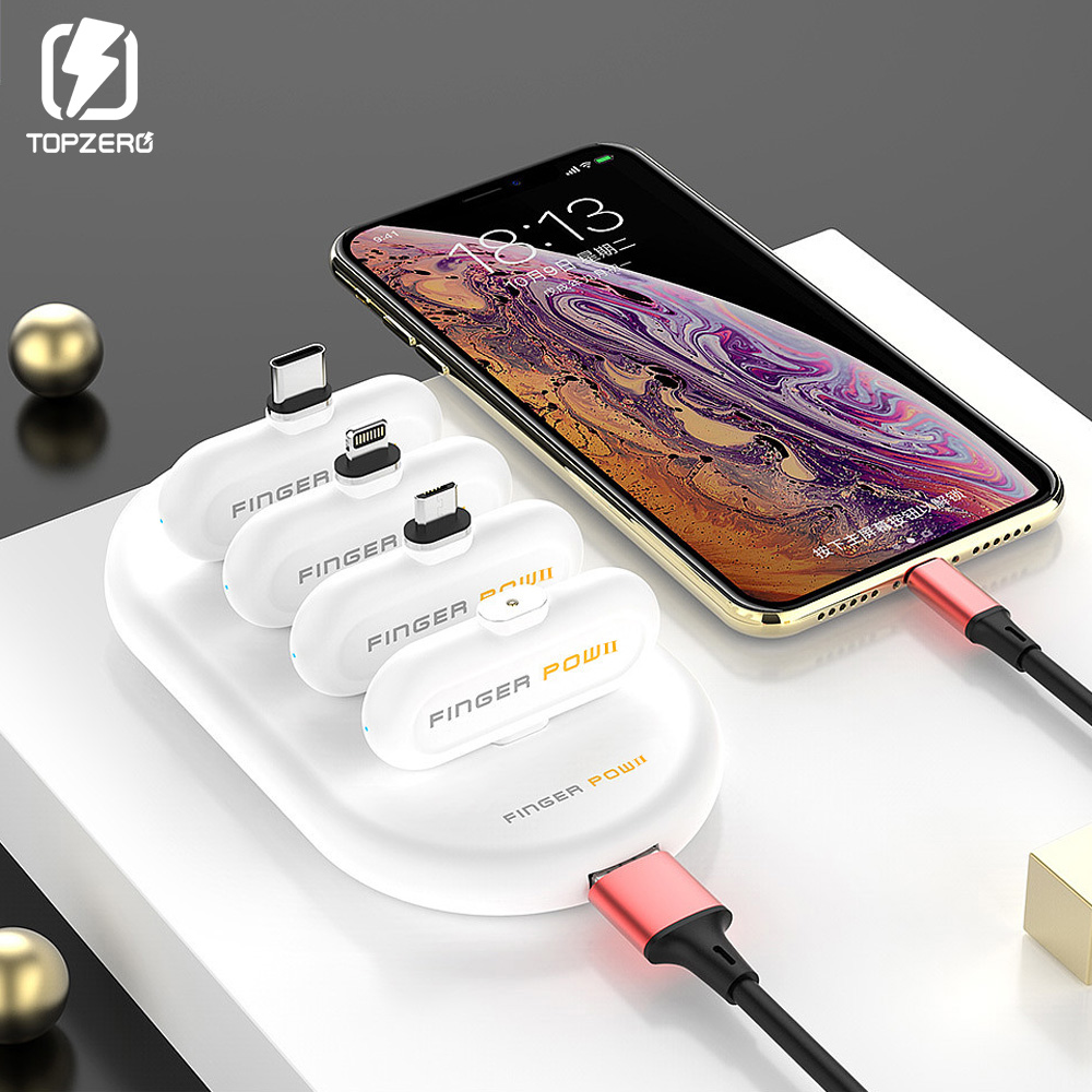 Batterie Magnetic-Charger-Cable Charging-Power-Bank Finger-Pow Externe Mini Portable title=
