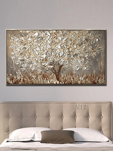 Image 3 - Unframed Hand Painted Knife Gold Tree Oil Painting On Canvas Large Palette 3D Paintings For Living Room Modern Abstract Wall Art