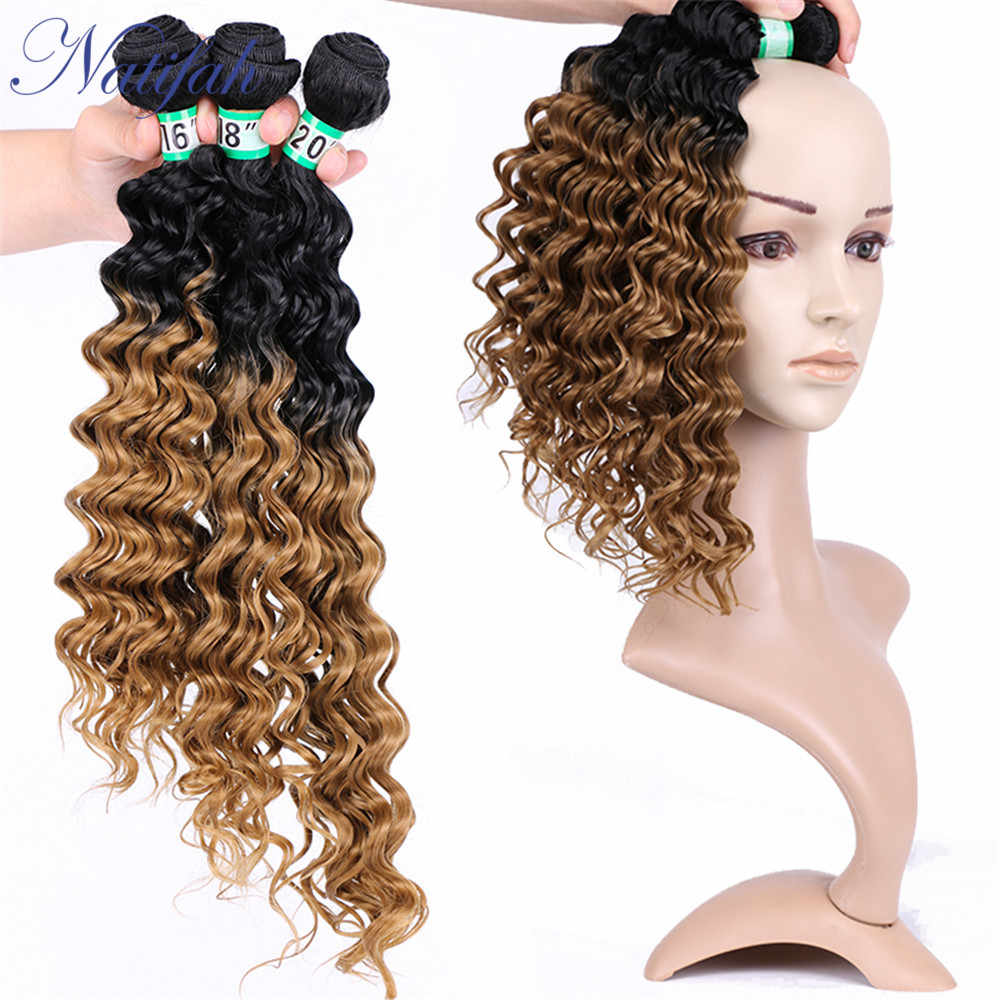 Natifah Ombre Diepe Golf Haar Bundels Synthetisch Haar Weven 161820Inch Dubbel Getrokken Haarverlenging Voor Zwarte Vrouw