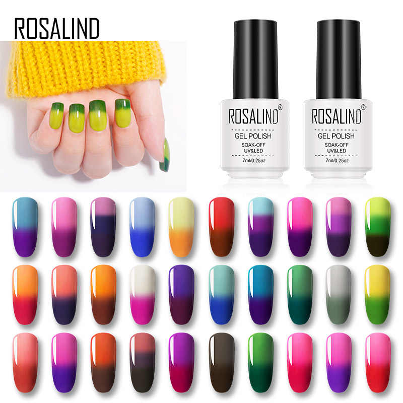 ROSALIND 7ML Gel Unha Polonês Mudança De Temperatura de Cor UV Nail Art Gel Laca Semi Permanente Gel Verniz Para As Unhas manicure