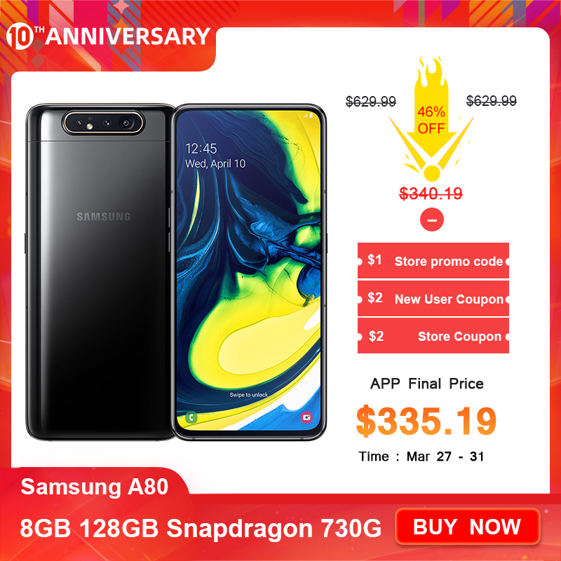 "Samsung Galaxy A80 Smartphone 6.7"" infinity display Snapdragon 730G Octa Core 8GB 128GB rotating camera 48MP Mobile Phone title="