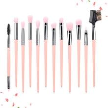 Makeup Brushes 12PCS Eye Brush Set Eyeshadow Blending Concealer Shader Highlight Eyebrow Lash Comb Professional Kit