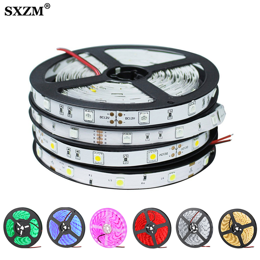 5050 2835 5630 RGB LED Strip Light DC12V Neon Ribbon Waterproof Flexible LED Diode Tape 60LEDs/m 5M 12V LED Strip