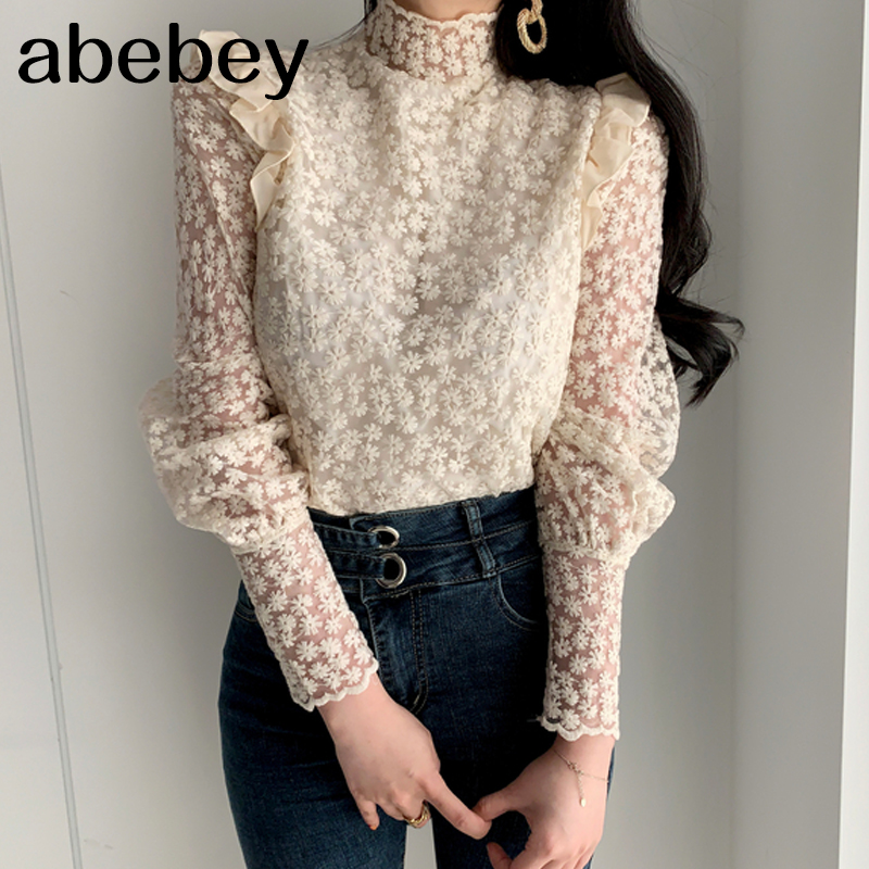 2020 Apricot Lace Delicate Turtleneck Floral Chic Basic Blouses All Match Elegant Casual Office Lady Loose Shirts