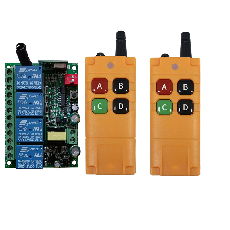 2000m AC110V 220V 230V 4CH Wireless Remote Control LED Light Switch Relay Output Radio RF Transmitter And 433 MHz Receiver