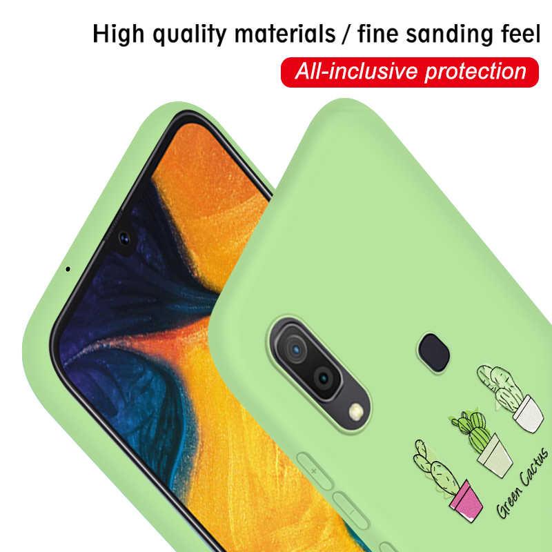Şeker renk TPU samsung kılıfı Galaxy A30 A50 2019 not 10 artı Pro S8 S9 S10 artı S10e A 50 yumuşak silikon kaktüs avokado kapak