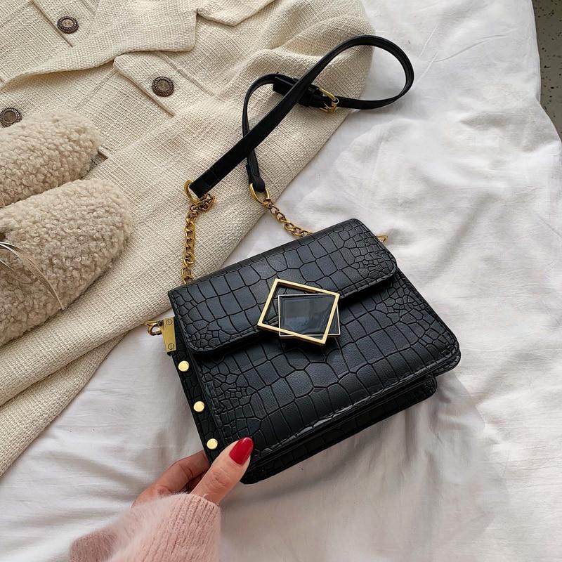 Women Stone Grain Handbags 2019 New Fashion Mini Evening Bag Chain Crossbody Bags Girls Messenger Bag