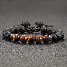 Classic Tiger Eye Stone Bracelet Men Natural Adjustable 8mm Beads Braid Rope Bracelets Handmade Charm Yoga Jewelry Homme Unisex