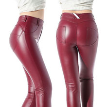 Nieuwe Sexy Gothic Pvc Rode Vrouwen Broek Elastische Taille Latex Broek Vrouwen Shiny Pu Leather Leggings Push Up Faux Leather rubber Broek(China)