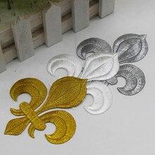 YACKALASI 20 Pieces/Lot Gold Flower Appliqued Lotus Iron on Embroidery Patches Fleur De Lis 10 8.5cm