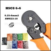 Plier HSC8 6-6 Orange tool mini self-adjustable crimping plier 23-10AWG crimping capacity 0.25-6mm2 VSC8 HSC8 6-4 hsc8 1 4 w1 w2 w3 mini type self adjustable crimping plier terminals crimping tools