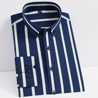 Non-iron Stretch Long Sleeve Striped Dress Shirts 1