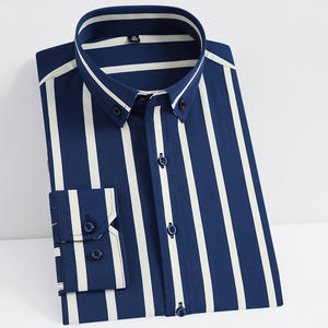 Dress Shirts Pocket Stretch Long-Sleeve Striped Men's Casual Non-Iron Tops Button-Down