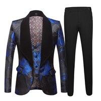 Jacquard suit for men Tide Men Navy Blue Floral Print Fashion Casual Suits Latest Coat Pant Designs Wedding Groom Stage Costume