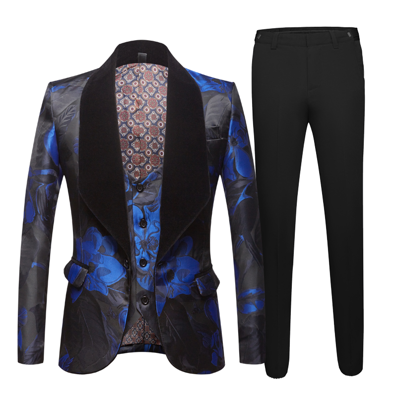 Jacquard Suit For Men Tide Men Navy Blue Floral Print Fashion Casual Suits Latest Coat Pant Designs Wedding Groom Stage Costume