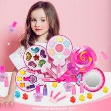 Kızlar makyaj oyuncak seti oyna Pretend prenses makyaj güzellik güvenlik toksik olmayan kutu seti oyuncaklar kızlar soyunma kozmetik çocuklar hediyeler