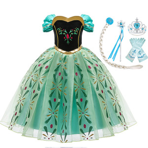 Image 2 - Snow Queen 2 NEW Elsa Anna Dress for Girls Elsa Halloween Fancy Clothes Children Party Cosplay Princess Costume Accessories Wig