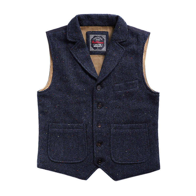 MJ-0004 Read Description! Asian size vintage 100% wool vest 560 GSM mens casual tweed vest