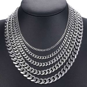 Chain Gold Mens Necklace Fashion Jewelry Cuban Curb Stainless-Steel Silver-Color Black