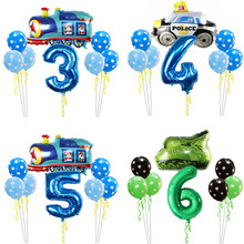 8PCS Cartoon Car Ballons Truck Train Foil Balloon 30inch Number police car Globos Children Gifts Birthday Party Decorations Kids(China)