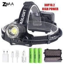Светодиодный налобный фонарь XHP70.2 XHP70, с зарядкой от USB, 90000LM, 3*18650 аккумулятора