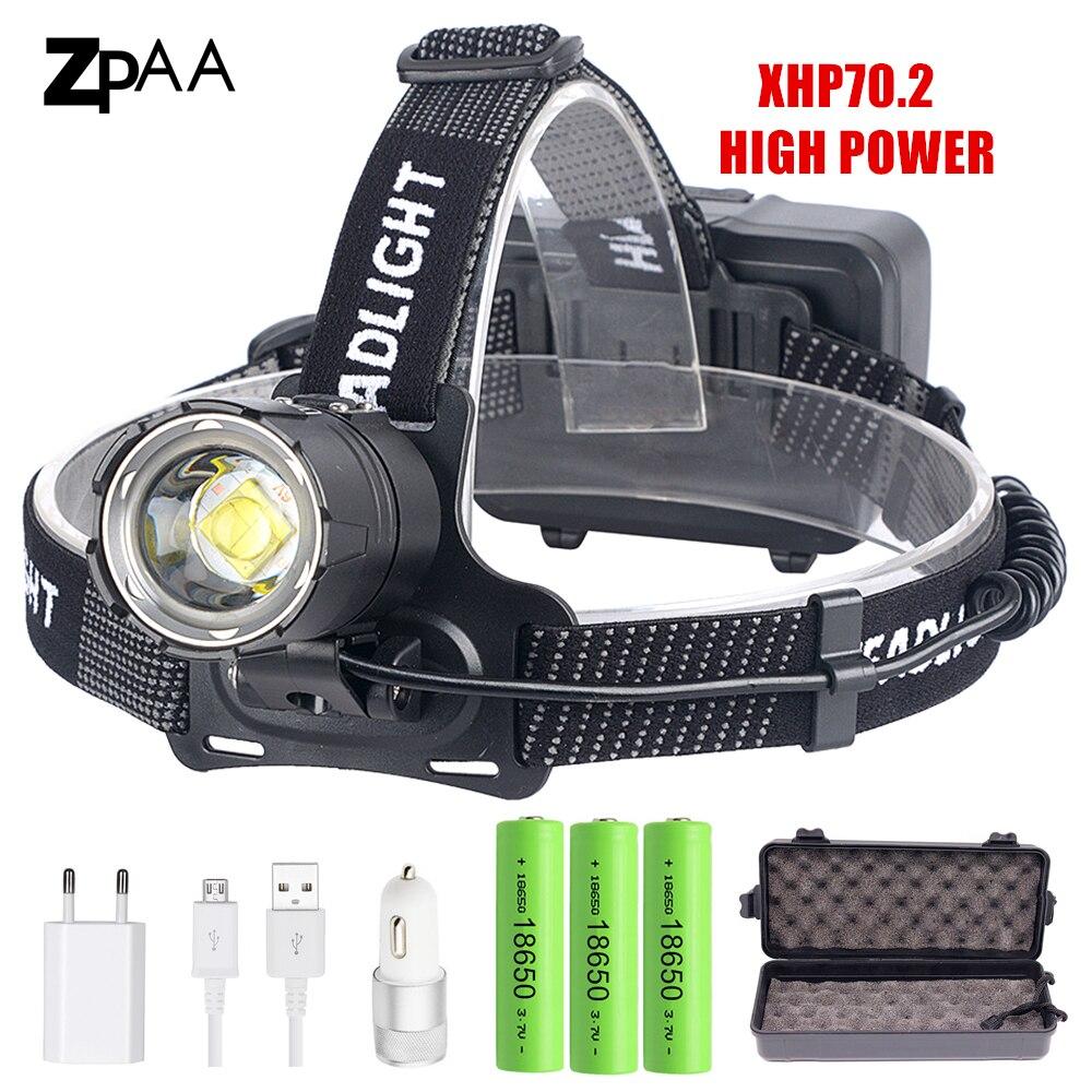 XHP70.2 XHP70 USB Headlight 90000LM Led Headlamp LED Rechargeable Head Torch Flashlight Lantern 3*18650 battery Powerbank-in Headlamps from Lights & Lighting