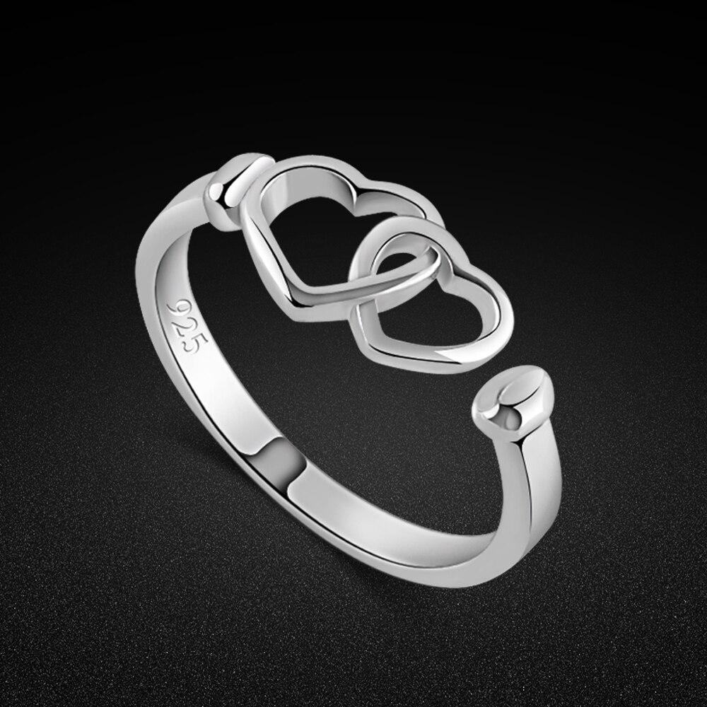 Женское кольцо из серебра 925 пробы, с милым сердцем