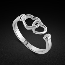 Minimalist women's 925 sterling silver ring cute heart ring solid jewelry wedding ring open design free adjustment