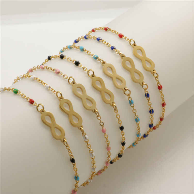 New Fashion Stainless Steel Bracelets Link Cable Chain Infinity Symbol Golden Enamel Bracelet Jewelry Gifts For Women 18cm 1PC