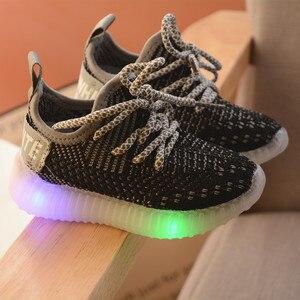 Image 3 - LED ışık ayakkabı çocuk çocuk kız spor rahat işıklı Sneakers yürümeye başlayan çocuklar için ışık örgü hava örgü öğrenci