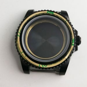 Image 4 - Newest HOT 40mm parnis stainless black PVD CASE hardened mineral sapphire glass fit 2828 2836 Miyota 82 movement Mens Watch Case