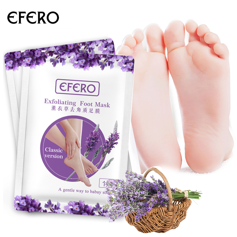 EFERO 2pair=4pcs Lavender Exfoliating Foot Peeling Mask For Legs Socks For Pedicure Feet Care Cream Remove Dead Skin Foot Mask