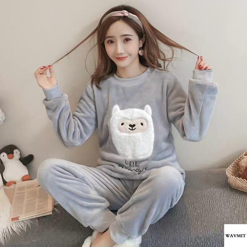 Autumn Winter Warm Flannel Women Pyjamas Sets Thick Coral Velvet Long Sleeve Cartoon Sleepwear Thin Flannel Pajamas Set for Girl 51