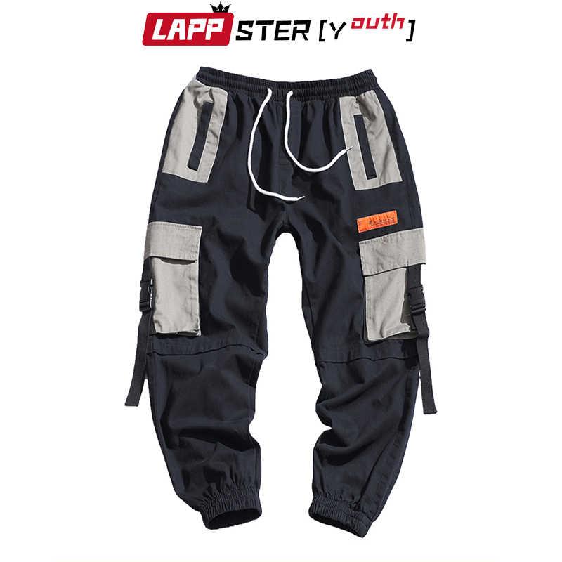 LAPPSTER パッチワークストリートハーレムパンツ男性 2019 オーバーオールメンズだぶだぶ原宿貨物パンツヒップホップズボンカジュアルトラックパンツ