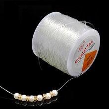 1 rolo/lote diy cristal beading cabo de estiramento redondo linha elástica diâmetro 0.5mm-1.5mm para fazer jóias linha de corda atacado