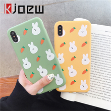 iPWSOO Cute Rabbit And Carrot Pattern TPU Soft Silicone Phone Case For iPhone 6 6s 7 8 Plus X XS Max XR Cover Back Cases