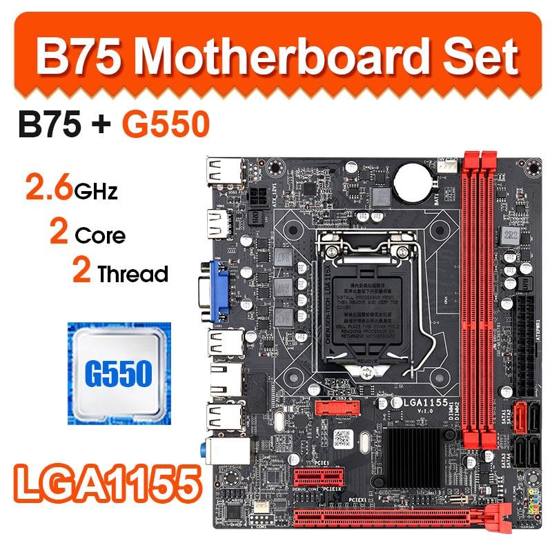 B75 LGA 1155 kit de carte mère de bureau avec Intel G550 LGA1155 prise en charge CPU DDR3 RAM M-ATX carte mère graphique intégrée