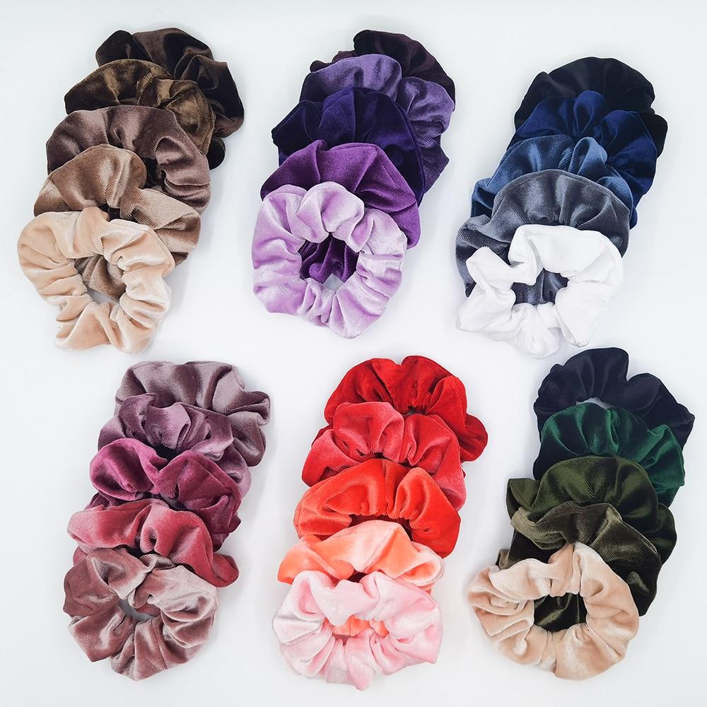 5 шт./компл. бархат резинка для флуоресцентные эластичные резиновые резинки для волос для женщин и девочек, мягкие, прочные, повязка для воло...