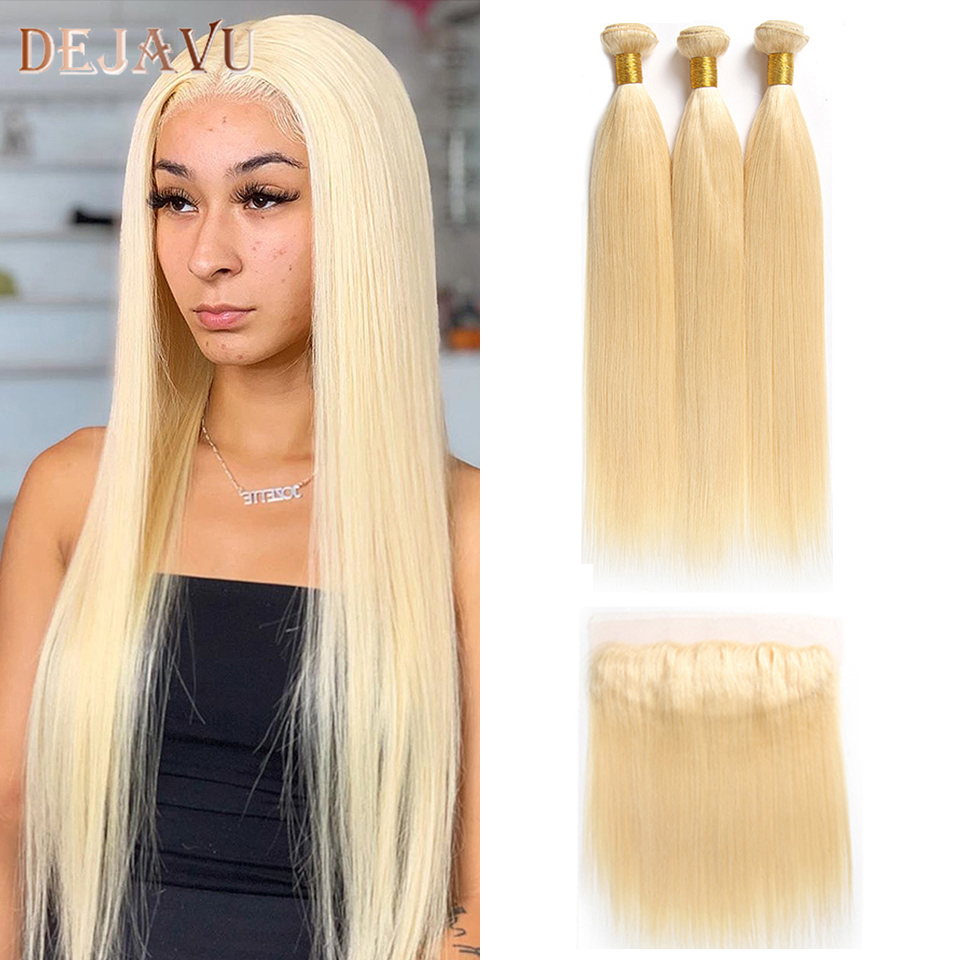 613 Blonde Bundles With Frontal Ear To Ear Brazilian Straight Remy Human Hair 13*4 Lace Frontal Closure With Bundles