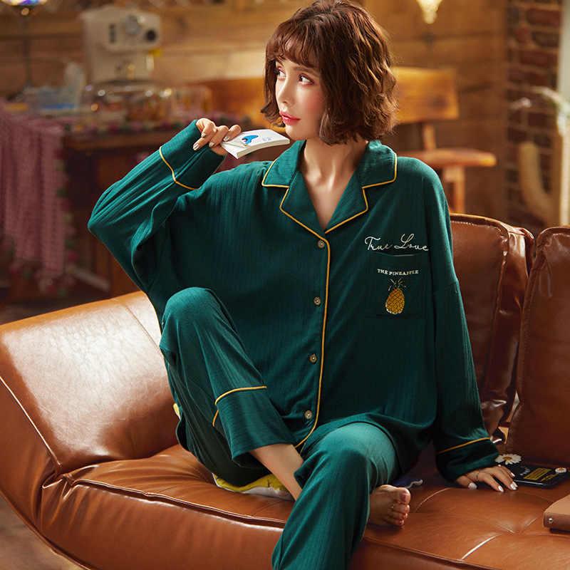 Nightwa Winter Dames Pyjama Set Katoen Turn-Down Kraag Casual Nachtkleding Vest Nachtkleding Lange Mouw Loungewear Vrouwen