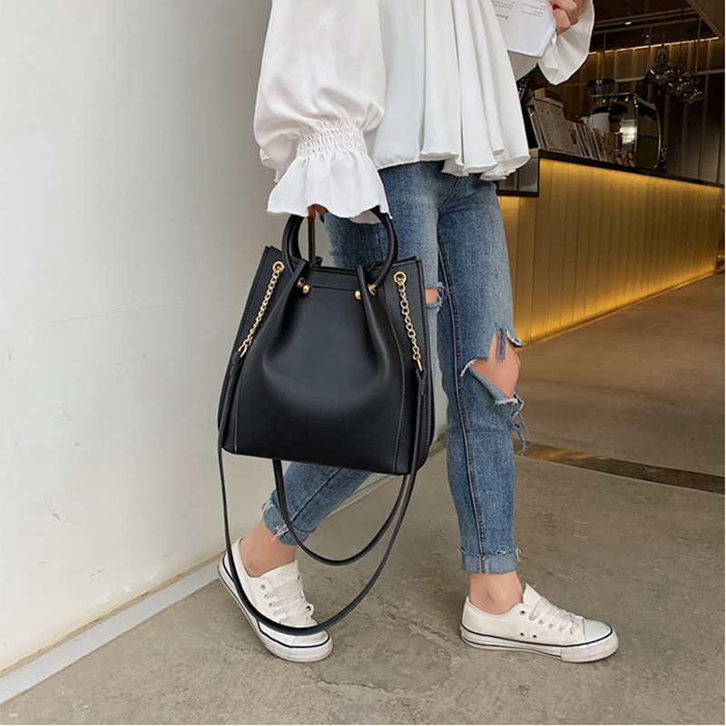 SMOOZA Simple PU Leather Handbags With Round Handle For Women 2019 New Summer Crossbody Bag Female Travel Messenger Shoulder Bag
