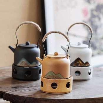 Styl japoński ciepły czajnik do herbaty zestaw do parzenia herbaty świeca do gotowania herbaty kuchenka zapachowa herbata ciepła herbata mały ekspres do herbaty zaparzaczem zestawy do herbaty tanie i dobre opinie NoEnName_Null CN (pochodzenie) 301-400 ml Porcelany