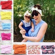 2 pcs/par criança meninas mãe filha coelho orelhas arco faixas de cabelo pano bandana bowknot headwear para meninas crianças