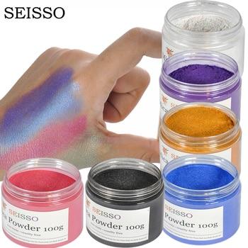SEISSO 100g/box Organic Mica Powder Nail Glitter Soap Making Kit Powdered Pigments Set dye Hand