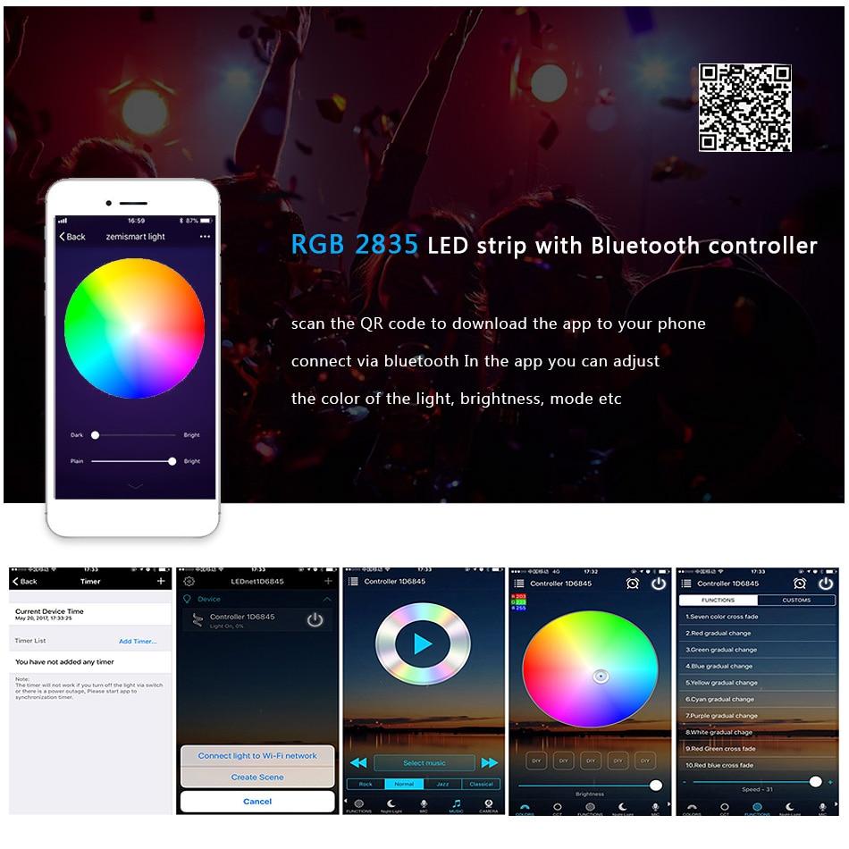 Bluetooth LED Strip Light RGB SMD 2835 DC12V 5M 10M 15M 20M Flexible RGB LED Stripe Ribbon Diode Backlight For Home kitchen TV (13)