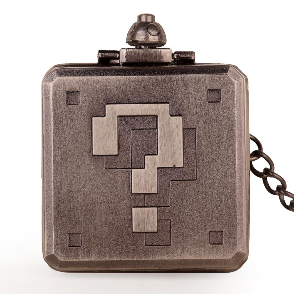 New Arrival Square Steampunk Quartz Pocket Watch Creative Question Mark Pendant Exquisite Necklace Watches With Chain Clpck Gift